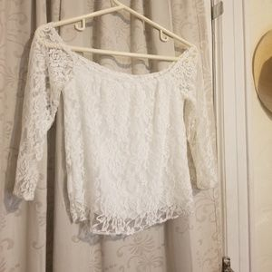 Tops - Off shoulder lace white top